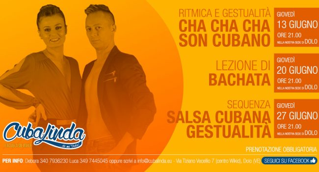 mini corsi di salsa cubana, son cubano, bachata e cha cha cha a dolo